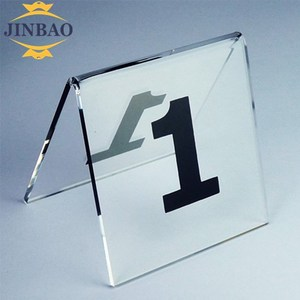 JINBAO Clear Tabletop Metal Triangle Plastic Acrylic Badge Sign Holder