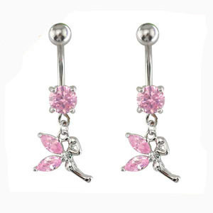 BR01851 316L stainless steel fashion crystal flat navel belly button rings wholesale