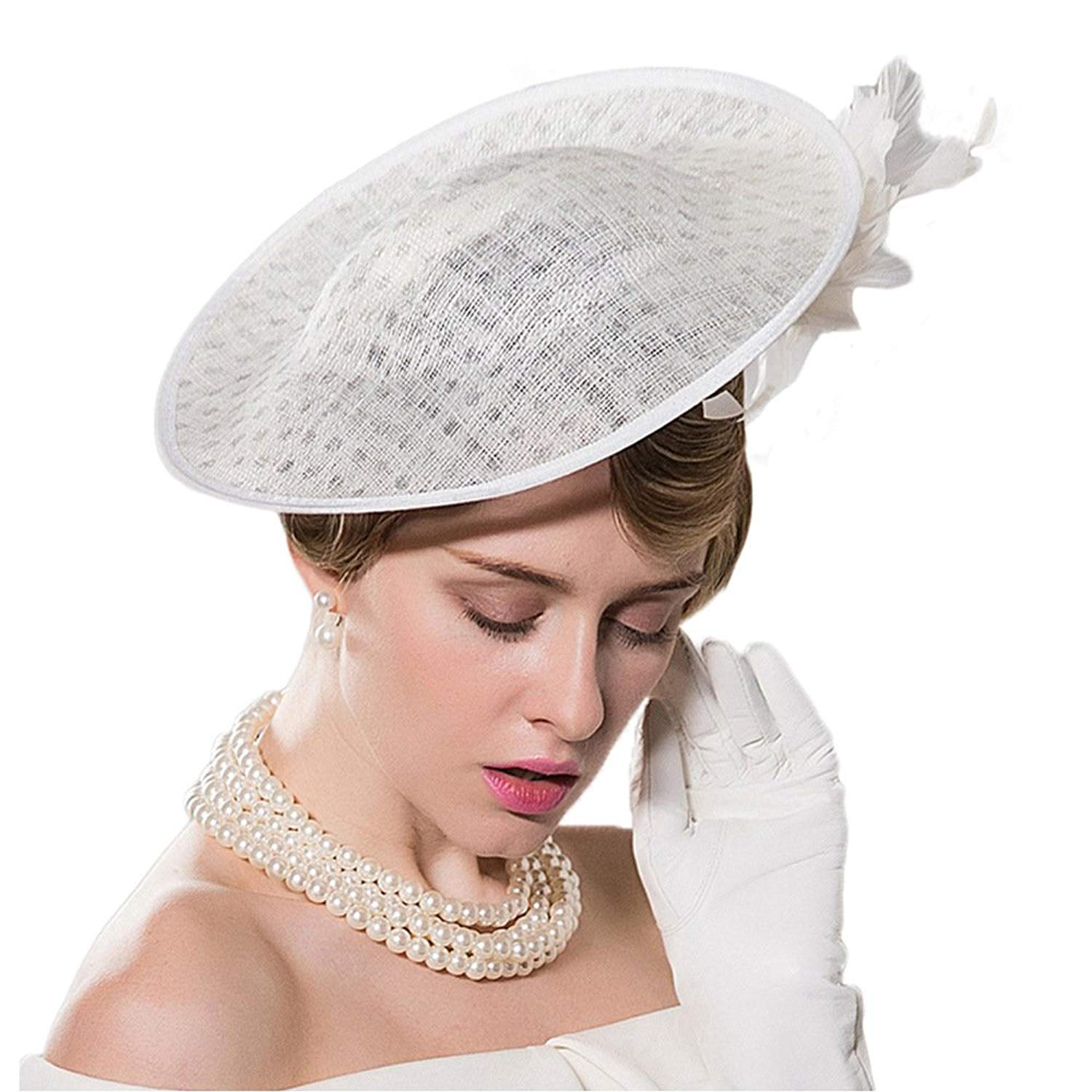 eb04dd35b7bb1 Get Quotations · Fascinators Hats for Wedding Ladies White Pillbox Hat with Veil  Vintage Church Sinamay Derby Hats