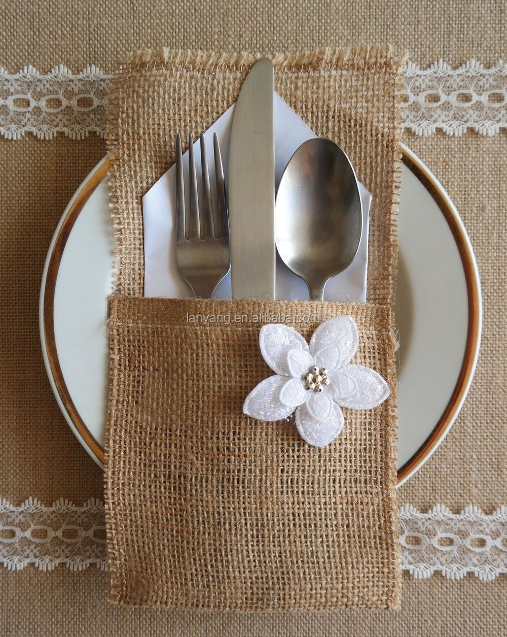 Bride And Groom Table Setting ,burlap Wedding Table Decorations For Party