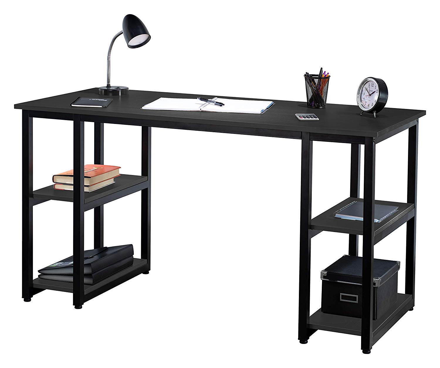 Fineboard Home Office Computer Desk Work Table with 4 Shelves, (Black)