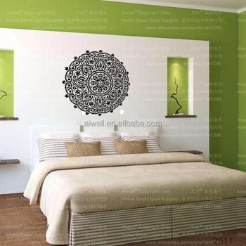 k47 design mural flower diy removable mandala wall sticker murah