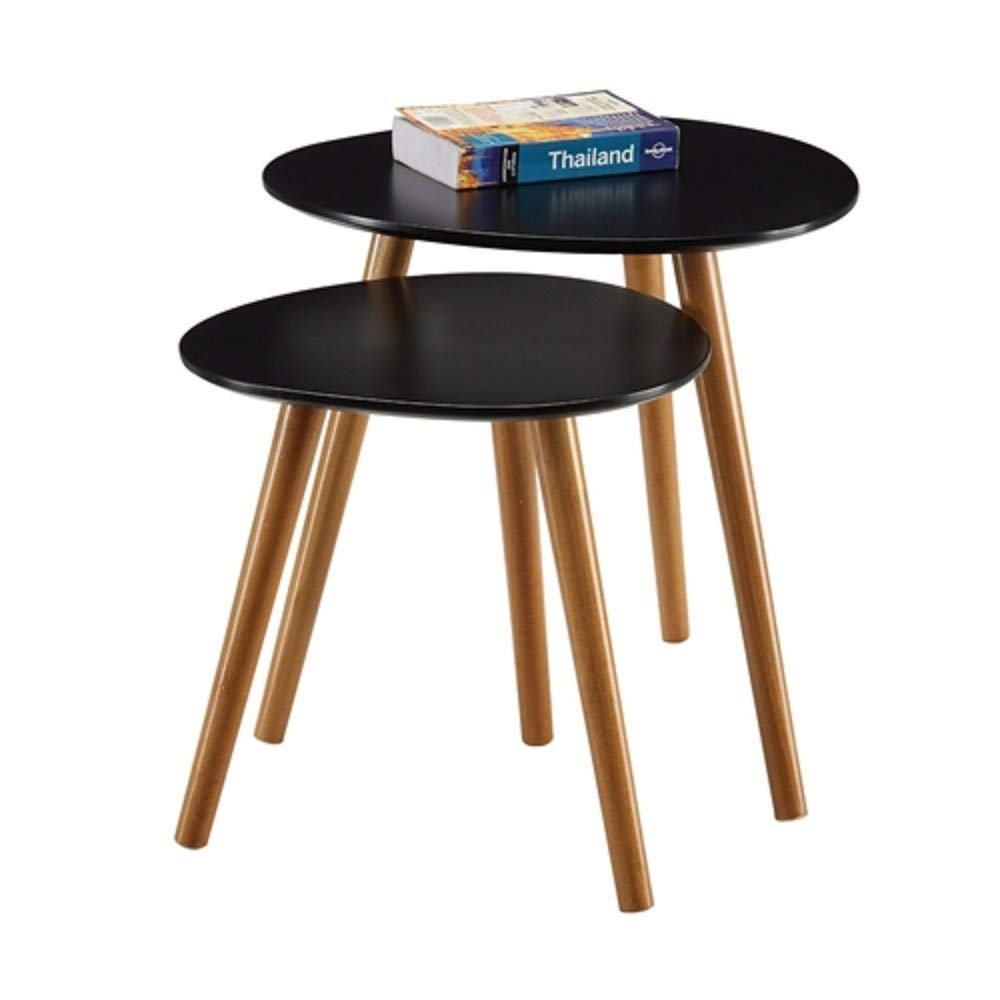 Set of 2 - Modern Mid-Century Style Nesting Tables End Table in Black Century Style Modern Brass Regency MyEasyShopping