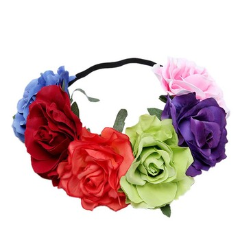 Wholesale custom yiwu flower hair accessories rose flowers hair band for wedding