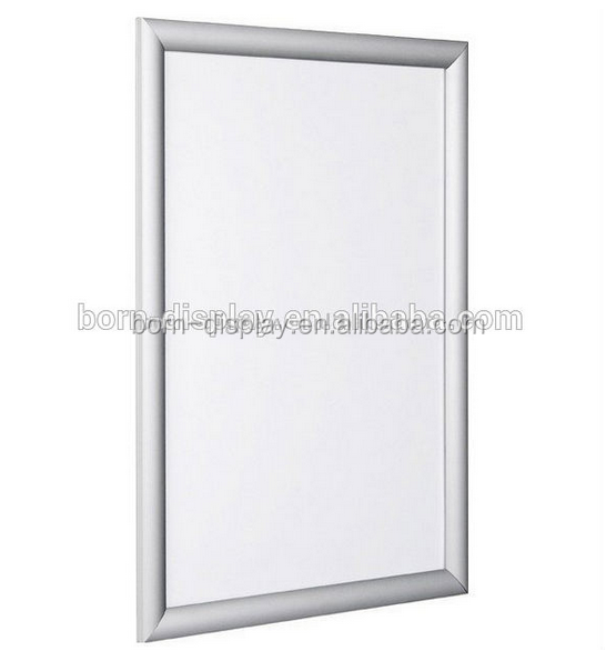 Display Cheap Aluminum Material Body Back Wooden Board Magnetic Photo Frame with A3 Sliver Mited Corner