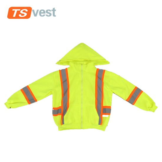 Hi vis soft wearing reflective safety coat made-in polar fleece