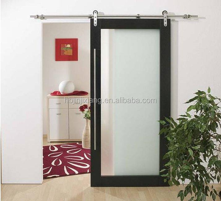 Montante y el carril de madera maciza panel de vidrio puerta corredera granero puertas - Carril puerta corredera ...