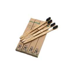biodegradable 4 bamboo custom logo charcoal bristle toothbrush 4 pack