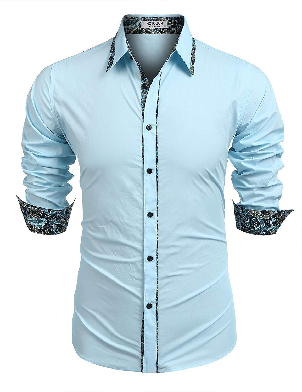 e2d7117b1 Get Quotations · Hotouch Men's Cotton Dress Shirts Slim Fit Contrast Long  Sleeve Casual Button Down Shirts, Elastic