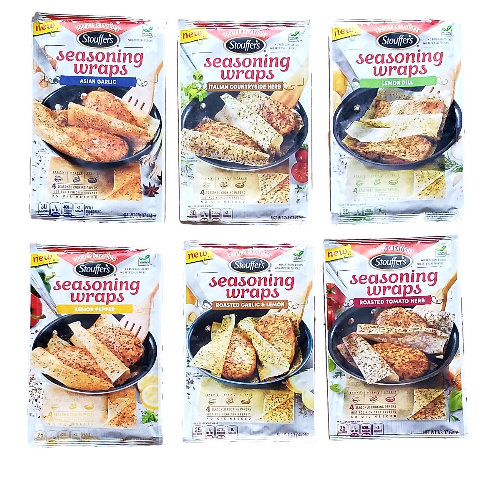 Variety Pack of 6 - Asian Garlic, Italian Countryside Herb, Lemon Dill, Lemon Pepper, Roasted Garlic & Lemon, Roasted Tomato Herb - Stouffer's Cooking Creations Seasoning Wraps Bundle