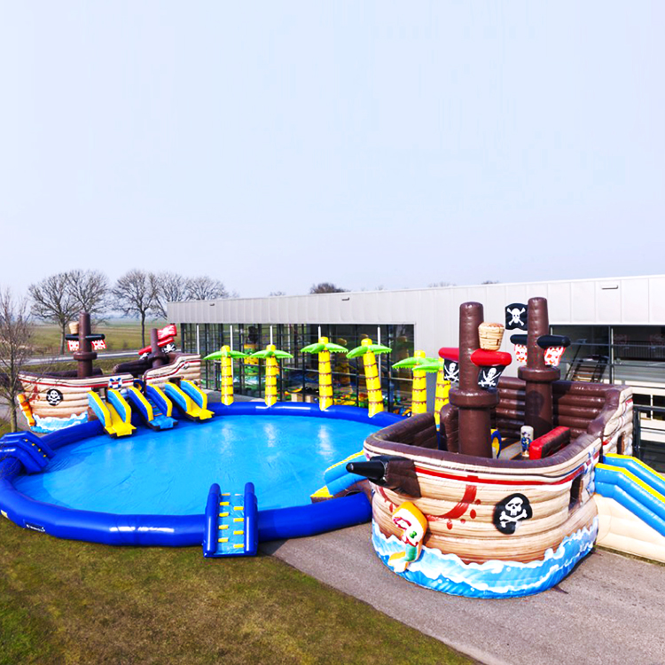 Zzpl Outdoor Inflatable Pirate Ship Water Park / Giant Inflatable Water  Slide With Swimming Pool For Sale - Buy Inflatable Pirate Ship,Inflatable