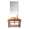 Hot sale bathroom glass vanity with glass basin