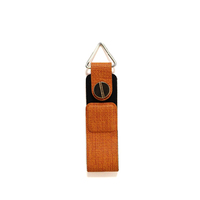 Wholesale New Design PU Leather Brown Key chain Ring Holder with Metal straps