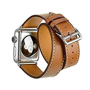 Apple Watch Cuff Band, Apple Watch Band Leather, High-grade Genuine Leather Band Cuff Bracelet Leather Watchband With Adapter for 38mm Apple Watch All Models (Brown)