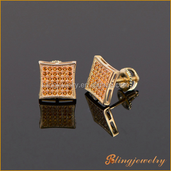 cubic silver earring back item hip screw stud earrings shining square cz men zirconia screwback hop