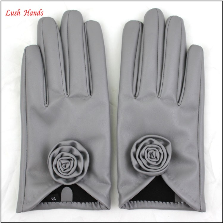Grey cheap ladies fashion leather fabric wholesale leather gloves