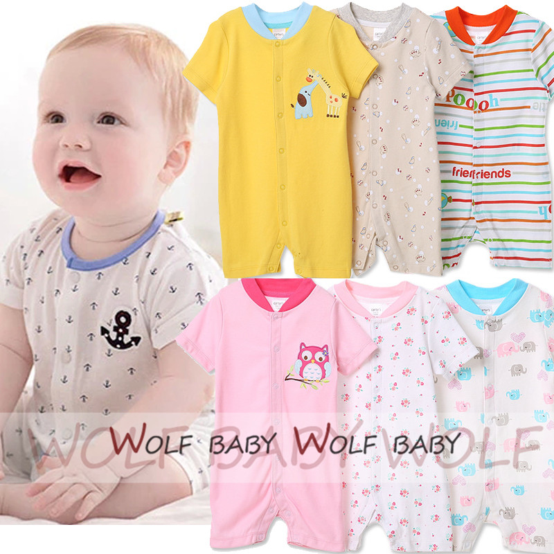 Retail 3pcs lot 0 24months short Sleeved Baby Infant romper cartoon for boys girls jumpsuits Clothing