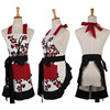 1Pcs Red Flower White Black Apron Woman Adult Bibs Home Cooking Baking Coffee Shop Cleaning Aprons Kitchen Accessories 46037