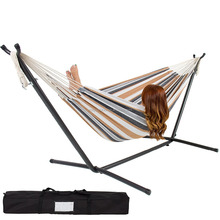 Woqi Double Hammock With Space Saving Steel Stand Includes Portable Carrying Case-Desert Stripe
