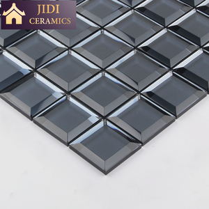 48x48mm Five Facets Frosted Surface Beveled Edge Backsplash 3D Mirror Glass Mosaic Tiles