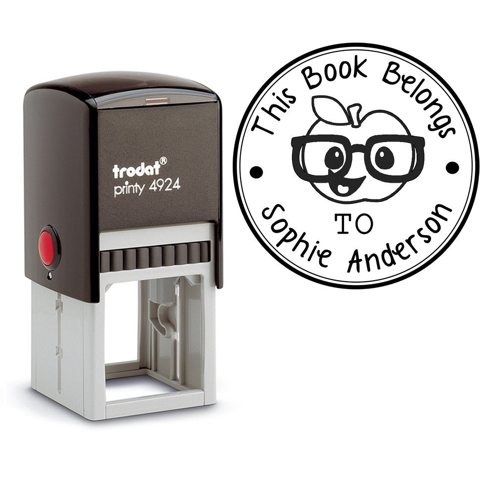 Apple Book Stamps This Belongs To, Self Inking Stamp, Property of Stamp, Book Stamp Self Inking, Book Name Labels, Book Stamp From the Library of, School s, Book Name Stamp, Customized