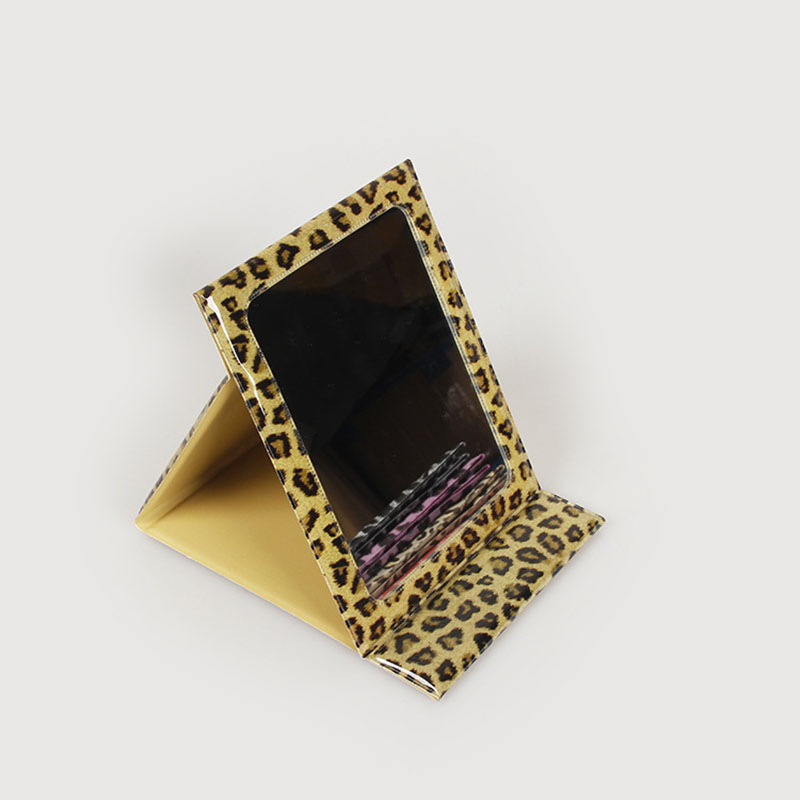 Fashional Folding Leopard Print Single Side Desktop PVC Cosmetic Mirror for Travel