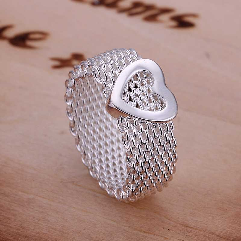 Free Shipping silver plated Ring Fine Fashion Net Heart Ring Women Men Gift Silver Jewelry Finger