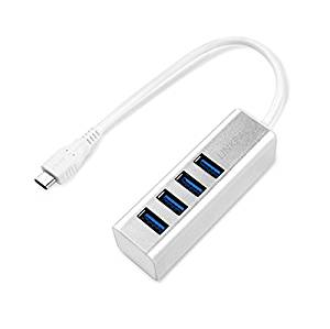 LINKPAL USB-C TYPE C to 4-Port USB 3.0 Hub for USB Type-C Devices Including the new MacBook 2016, ChromeBook Pixel and More (Silver Aluminum)