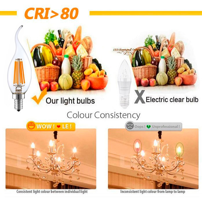 High Quality AC110-130V E12 6W 2700K Electric Bulb Dimmable UL Listed