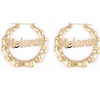New Arrival Custom Letters Oversized One Circle Bamboo Joint Gold Hoop Earring