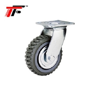 200MM/8 Inch Korean Heavy Duty PU Double Ball Bearing Top Plate Swivel Caster Wheel with/ without Brake for Trolley Cart