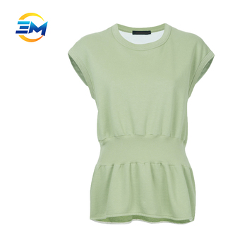 92f2bd62c40 Wholesale round collar drop sleeve 100% cotton tunic tops for women roll  hem knitting blouse