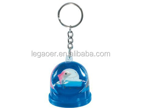 Promotion Custom Christmas Snow Globe Keychain Dolphin Inside