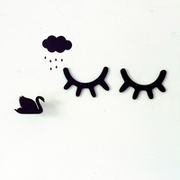 Simple Nordic style girl eye lashes door stickers refrigerator stickers cute home decoration wall stickers