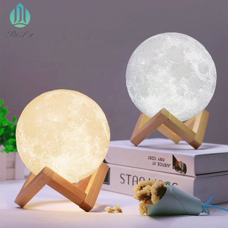 New Fashion creative 8cm 10cm 12cm 15cm 18cm 20cm 24cm 3D Printing Moon LED Night Light Lamp for weeding centerpieces decoration