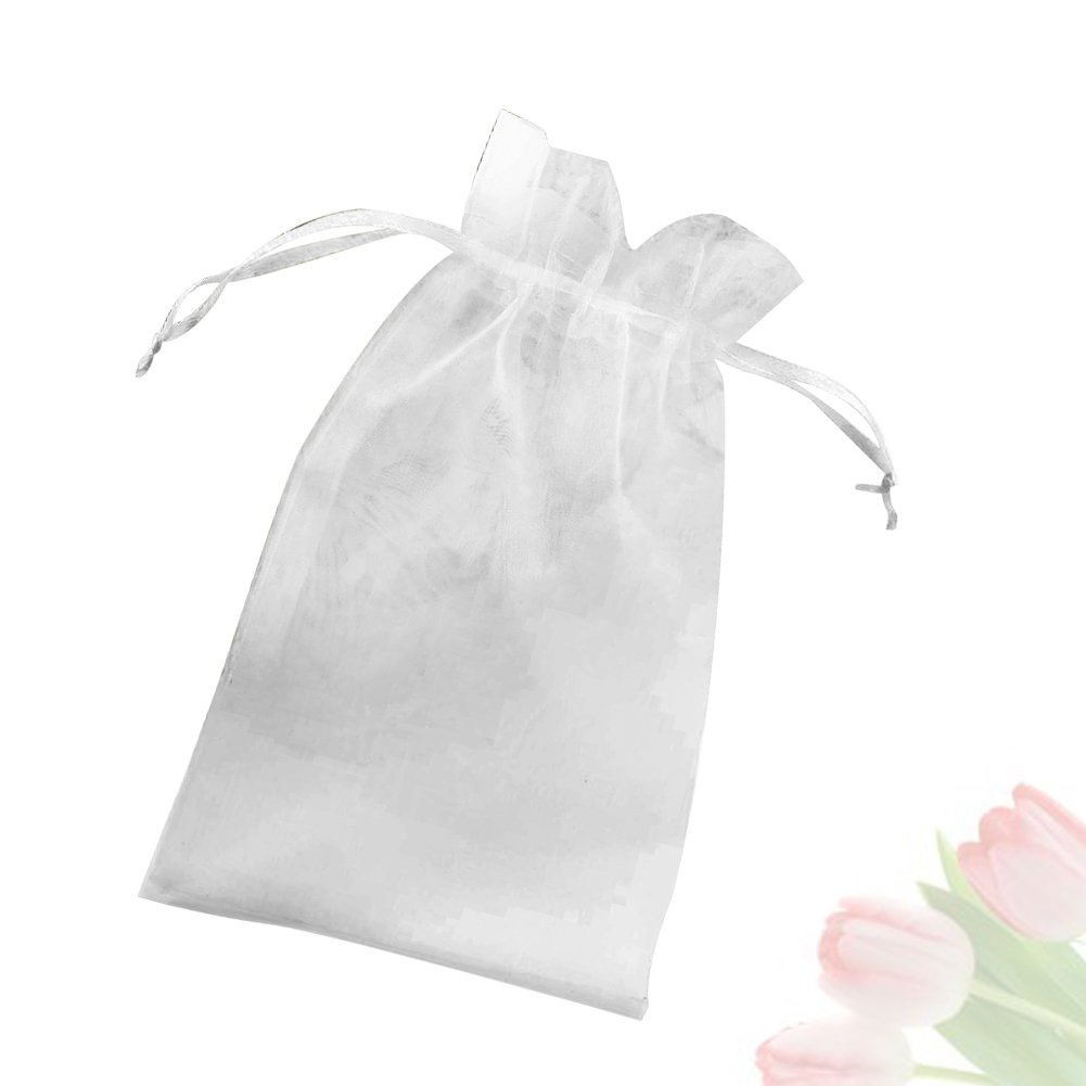 """Organza Bags, G2PLUS 100 PCS 10X15CM (4X6"""") Drawstring Organza Jewelry Pouches Wedding Party Festival Favor Gift Bags Candy Bags (White)"""