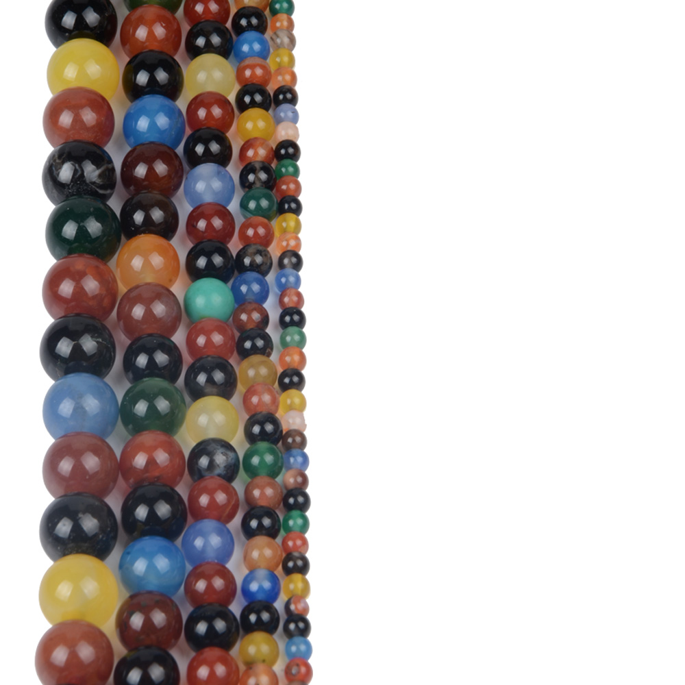 Colorful 4MM 6MM 8MM 10MM 12MM Agate Beads for Women Jewelry Making