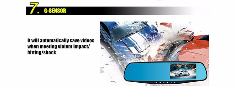 Full HD 1080P Car Dvr Camera Auto Dual Lens 4.3 Inch Rearview Mirror Digital Video Recorder Dual Lens