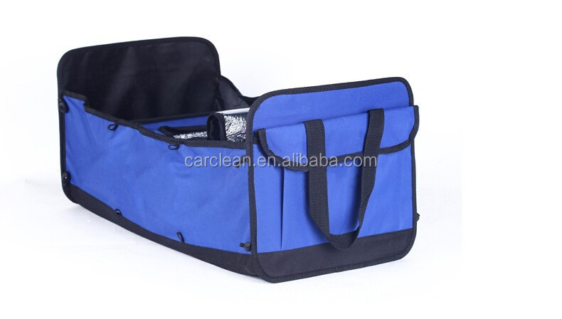 Folding Car Trunk organizer with cooler bag car tools storage bag