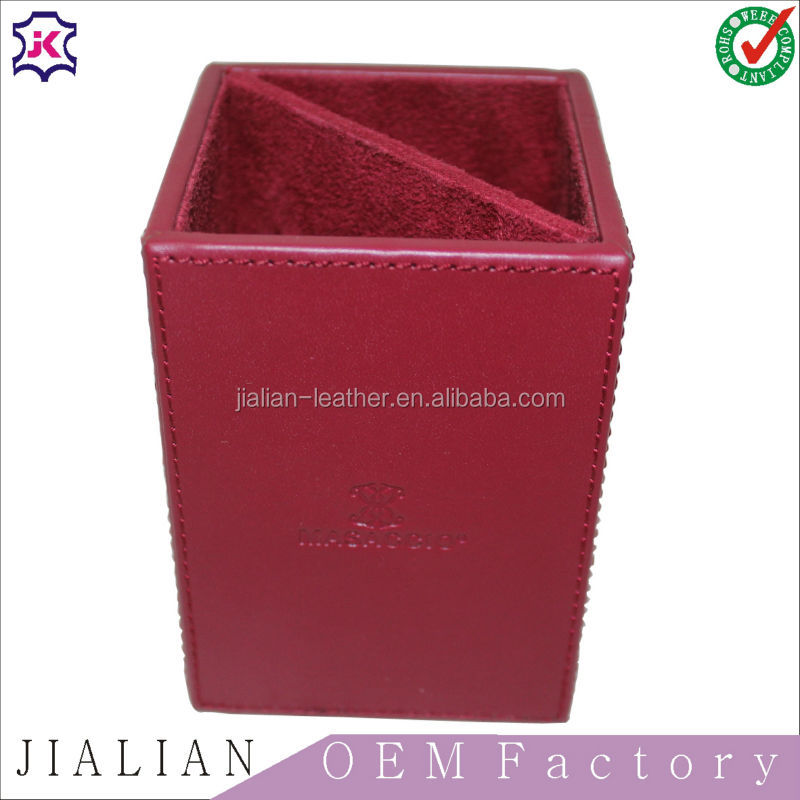 red rectangular leather waste basket /bin -home/office-new smooth pu leather