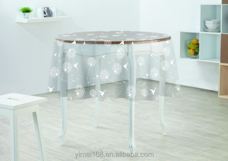 Plastic Printed Tablecloth Protector / Round Super Clear Transparent PVC  Tablecloth