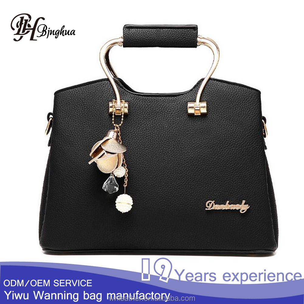 AL-066 The new trend handbags china factory sell metal handle Synthetic leather women purse tote bag