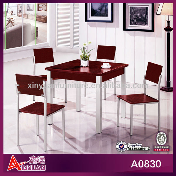 A0830 Latest red 4 seat wooden dining tables philippines
