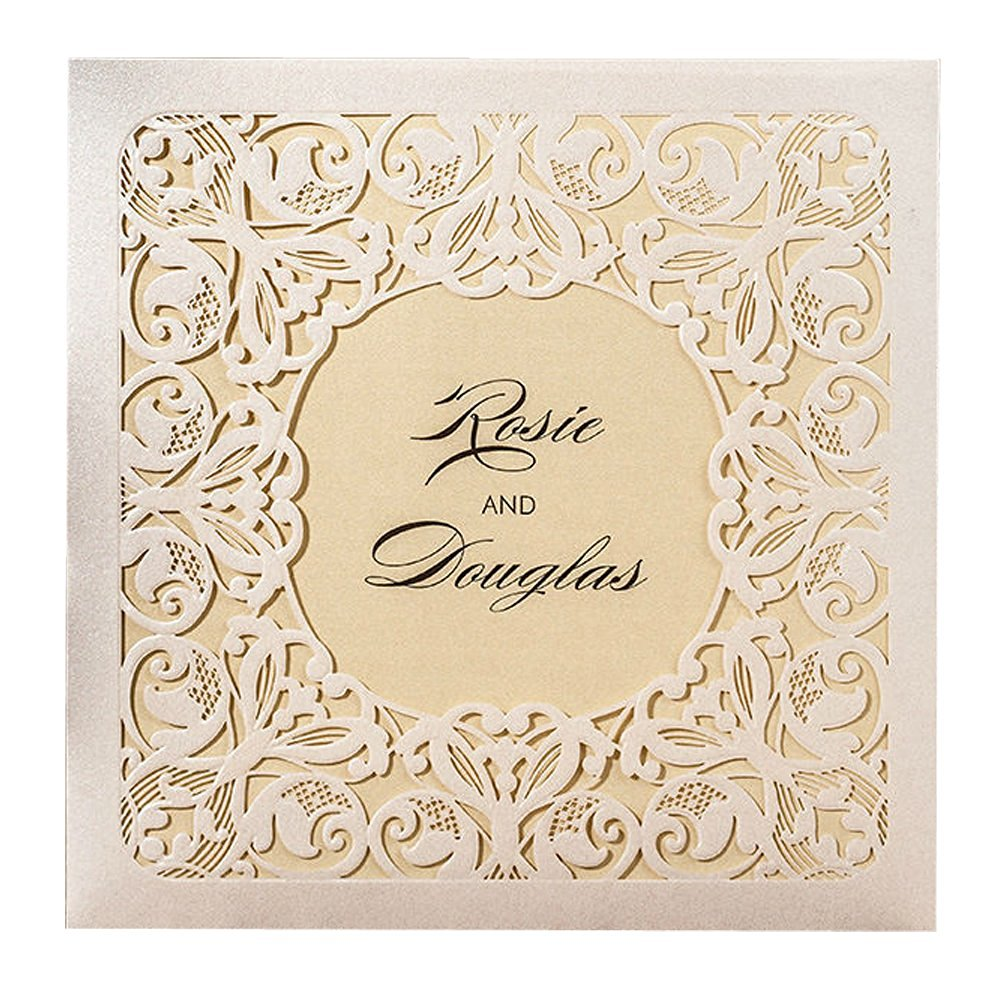 Everyshine White Heart Laser Cut Love Floral Lace Wedding Invitations (12)