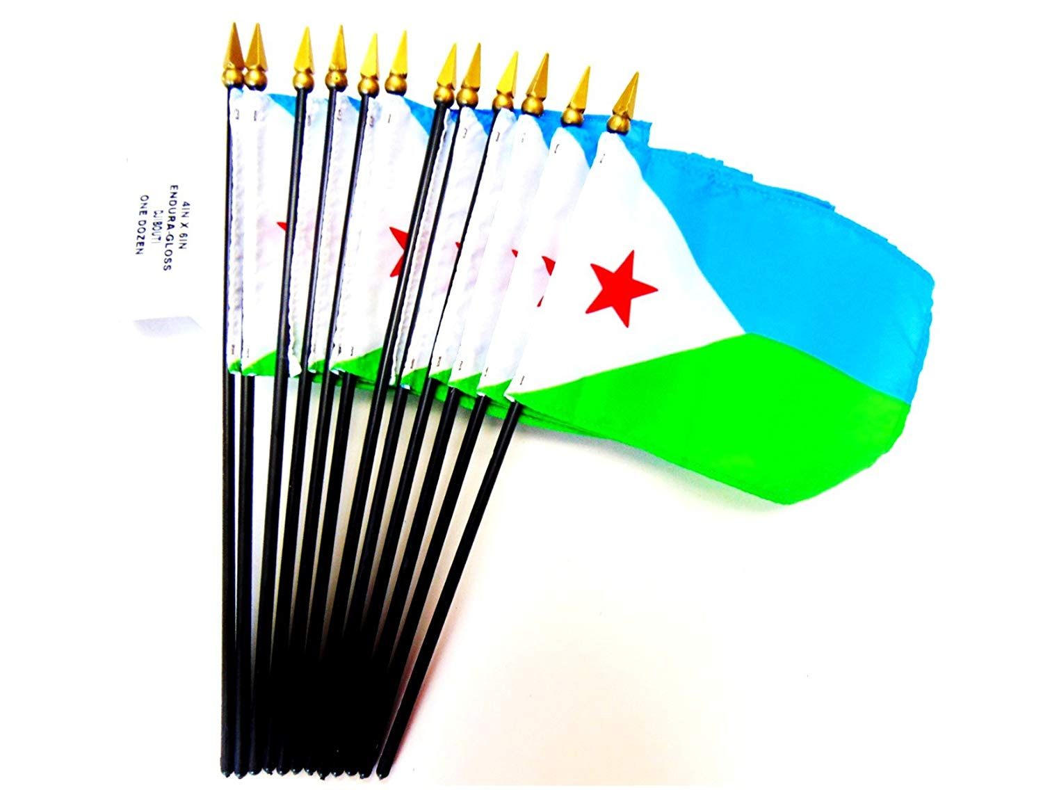 "MADE IN USA!! Box of 12 Djibouti 4""x6"" Miniature Desk & Table Flags; 12 American Made Small Mini Djibouti Flags in a Custom Made Cardboard Box Specifically Made for These Flags"