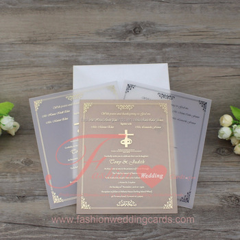 Personalised Custom Frosted Clear Acrylic Wedding Invitations With