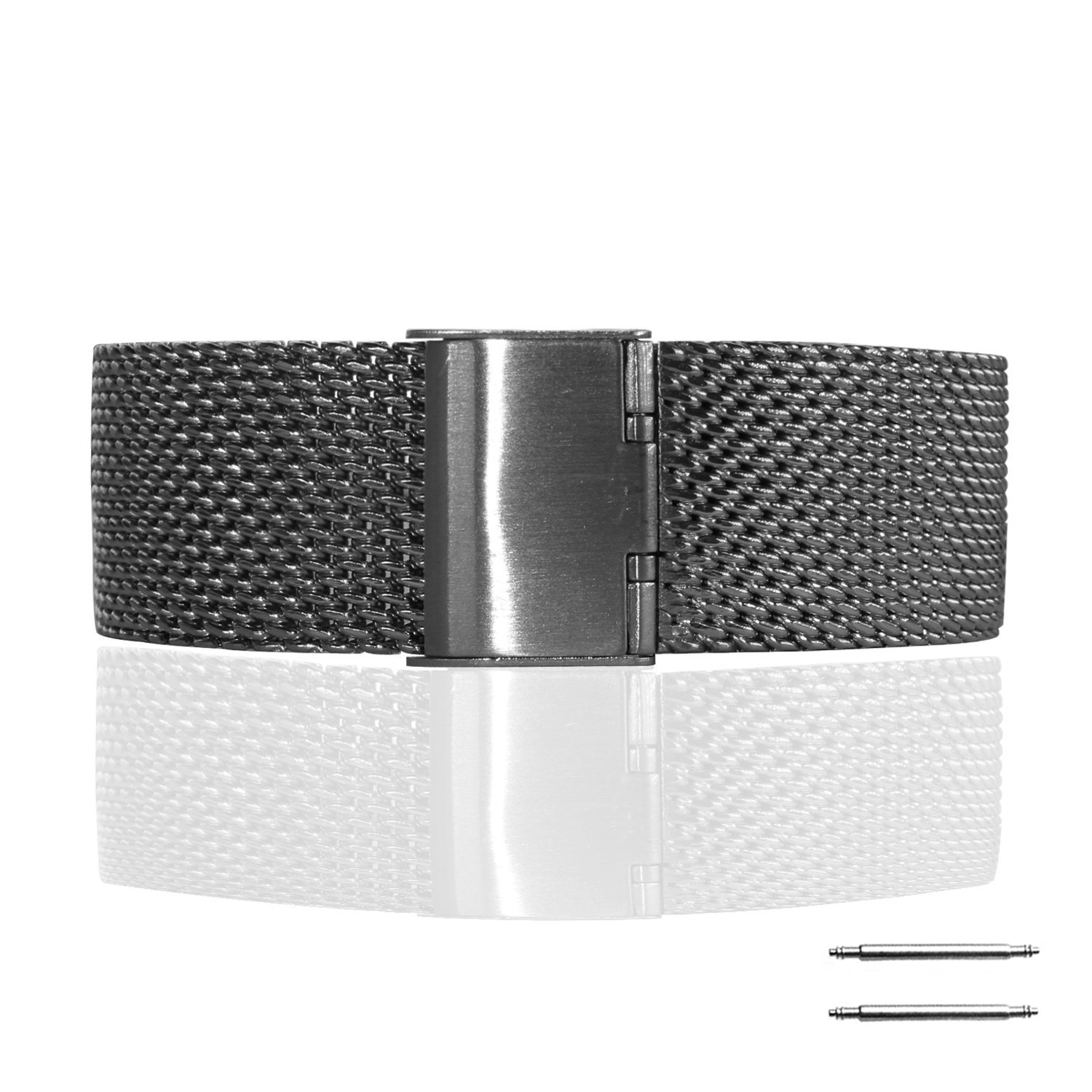 Fitian New Replacement Stainless Steel Wire Mesh Steel Fold Over Buckle Watch Band Strap for Moto 360 Smart Watch Motorola Wristband with Free a Screen Protector for Moto 360 and a Spring Bar Tool (Matte Black & Thick Mesh) ¡­