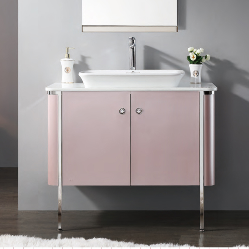 Pink Bathroom Vanity with ceramic sink basin