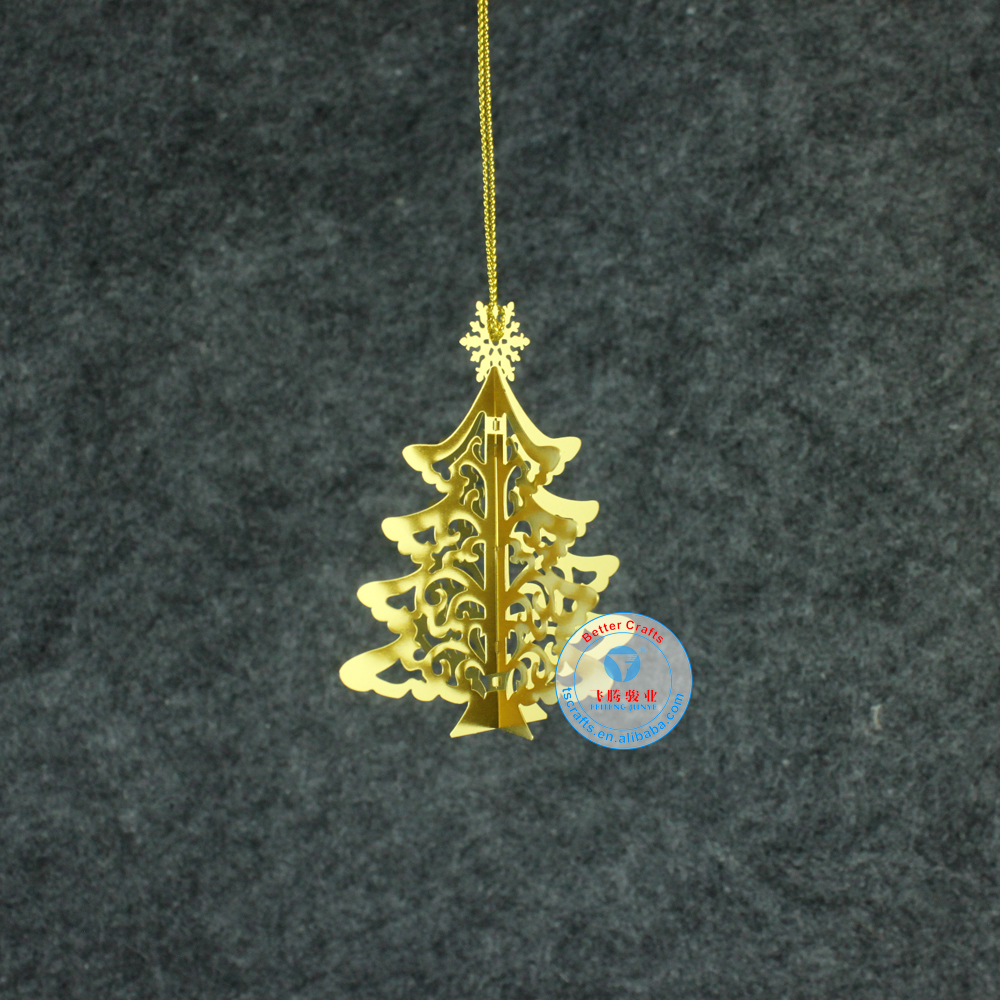 Latest custom design personal <strong>logo</strong> etched metal brass ornaments for christmas tree hang decoration