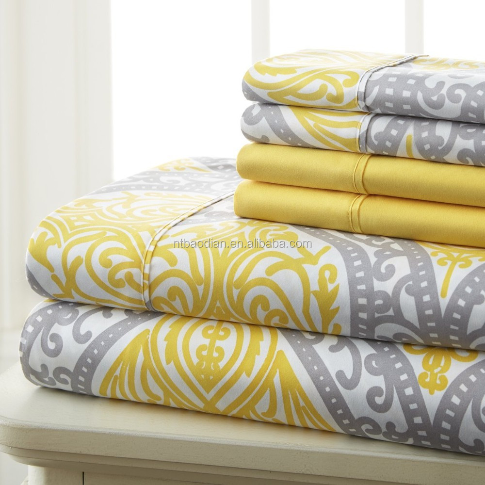 Nantong Textile 6 Piece print bed Sheet Set, twosolid color pillowcase --yellow